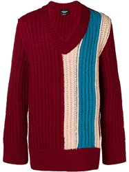 Calvin Klein 205W39nyc Oversized Chunky Stripe Sweater Red