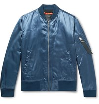 Rag And Bone Manston Satin Bomber Jacket Blue