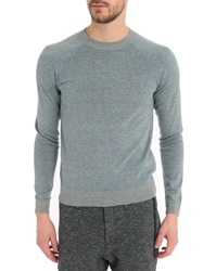 Ikks Marl Grey Blue Round Neck Sweater