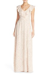 Paper Crown Women's By Lauren Conrad Print Crepe Ruffle V Neck Gown Blush Floral Print