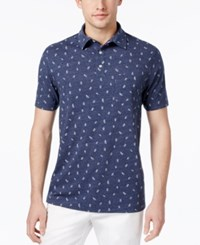Club Room Men's Knot Print Polo Only At Macy's Dark Navy