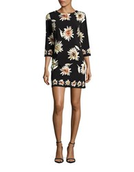 Taylor Three Quarter Sleeve Floral Printed Shift Dress Black Multi