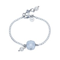 Nadia Minkoff Square Stone And Glass Pearl Bracelet Dove Grey Silver