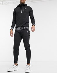 Sik Silk Siksilk Skinny Joggers In Black With Branded Waistband