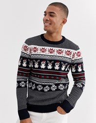 New Look Christmas Jumper In Penguin Fairisle Navy