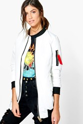 Boohoo Hannah Padded Ma1 With Red Tape White