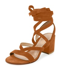 Gianvito Rossi Strappy Suede Ankle Wrap Sandal Luggage