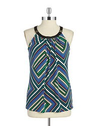 Calvin Klein Faux Leather Trimmed Halter Top Lagoon Combo