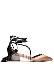 Jimmy Choo Duchess Satin And Leather Sandals Black Nude