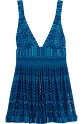 Missoni Mare Pleated Metallic Crochet Knit Mini Dress Teal