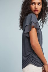 Anthropologie Linen Chiffon Sleeve Tee Dark Grey