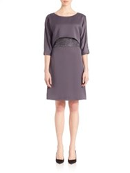 Armani Collezioni Embroidered Overlay Evening Dress Grey