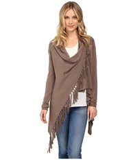 Christin Michaels Evelyn Fringed Wrap Cardigan Walnut Women's Sweater Brown