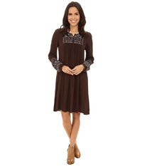 Roper 0019 Solid Rayon Peasant Dress Brown Women's Dress