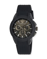 Versace 42.5Mm Men's Character Chronograph Watch W Silicon Strap Black
