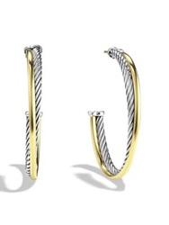 David Yurman Crossover Extra Large Hoop Earrings With Gold Silver Gold
