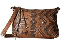 American West Nomad Heart Zip Top Crossbody Distressed Charcoal Brown Cross Body Handbags