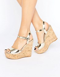 Aldo Aralinna Platform Wedge Sandals Gold