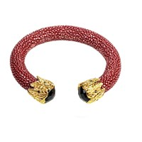 Latelita London Stingray Bangle Garnet Red With Black Onyx Black Red Gold