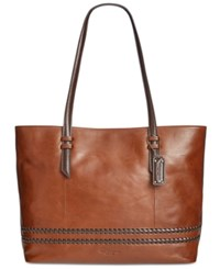 Tignanello Classic Boho Vintage Leather Tote Rust Dark Brown