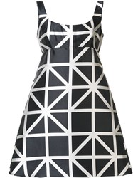 Milly Flared Grid Print Dress Black