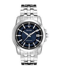Bulova Mens Precisionist Stainless Steel Quartz Watch With Blue And Black Dial Silver