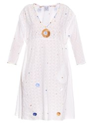 Thierry Colson Pompom Garden Embroidered Cotton Dress White Multi