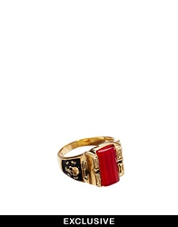 Reclaimed Vintage Red Stone Ring Gold