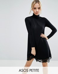Asos Petite Swing Dress With Lace Hem And Polo Neck Black