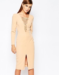 The 8Th Sign Lace Up Front Longsleeve Bodycon Dress Nude