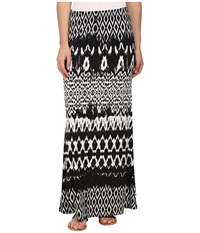 Karen Kane Tribal Stripe Maxi Skirt Black Off White Women's Skirt