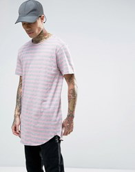 Cayler And Sons Longline Striped T Shirt Pink