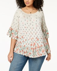 Styleandco. Style Co Plus Size Printed Bell Sleeve Tunic Created For Macy's Geo Garden