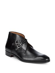 Massimo Matteo Leather Double Monk Strap Mid Top Dress Boots Black