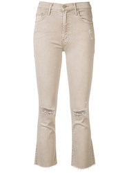 Mother Cropped Flared Jeans Brown