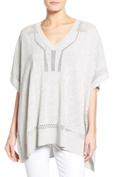 Women's Caslon Lightweight V Neck Poncho Sweater