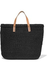 Kayu Woman Nico Leather Trimmed Straw Tote Black