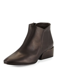 Whit Leather Ankle Bootie Black Coclico