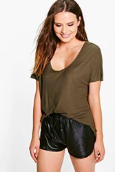 Boohoo V Neck Ribbed T Shirt Khaki