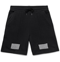 John Elliott Slim Fit Panelled Loopback Cotton Jersey Shorts Black
