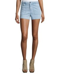 Alice Olivia Carson Braided Waist Chambray Shorts Light Blue
