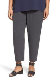 Eileen Fisher Plus Size Women's Silk Georgette Crepe Ankle Pants Graphite