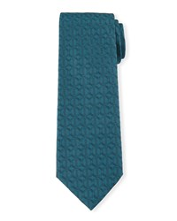 Icon Print Silk Tie Teal Blue Davidoff