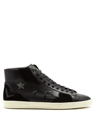 Saint Laurent Court Classic Love High Top Leather Trainers Black Multi
