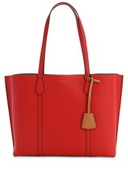 Tory Burch Perry Multicolor Leather Tote Bag Red