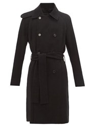 Ann Demeulemeester Double Breasted Wool Blend Trench Coat Black
