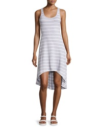 Marc Ny Performance Striped High Low Tank Dress Heather Gray White