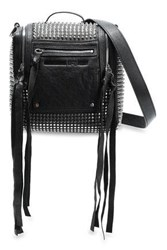Mcq By Alexander Mcqueen Woman Loveless Mini Convertible Studded Leather Backpack Black