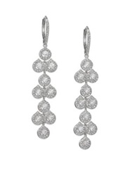 Adriana Orsini Teardrop Mosaic Long Earrings Silvertone