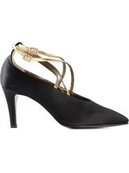Yves Saint Laurent Vintage Ankle Strap Pumps Black